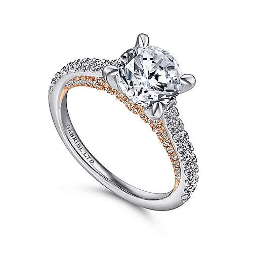 18k White/pink Gold Diamond Straight Engagement Ring angle 3
