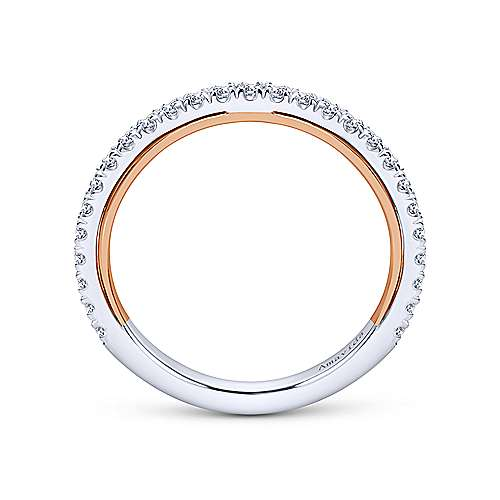 18k White/pink Gold Diamond Straight Wedding Band angle 2