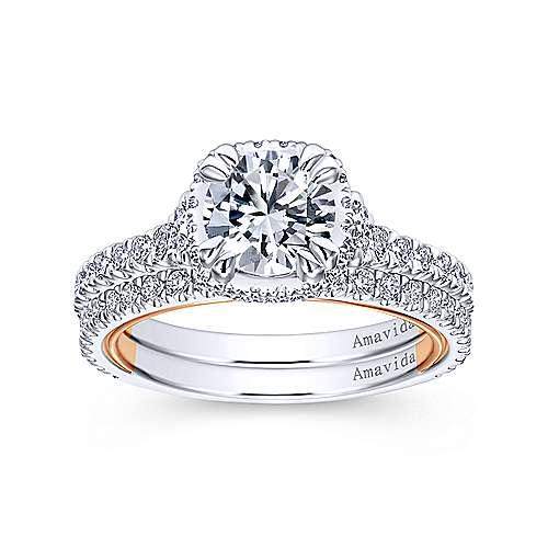 18k White/pink Gold Diamond Straight Wedding Band angle 4