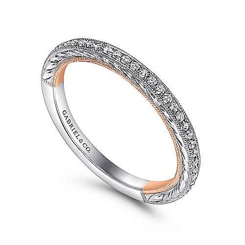 18k White/pink Gold Diamond Straight Wedding Band angle 3