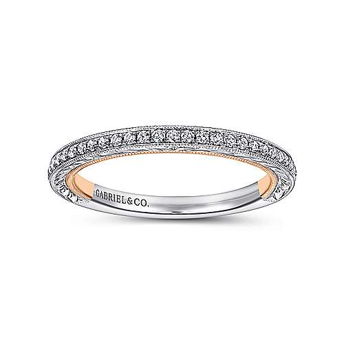18k White/pink Gold Diamond Straight Wedding Band angle 5