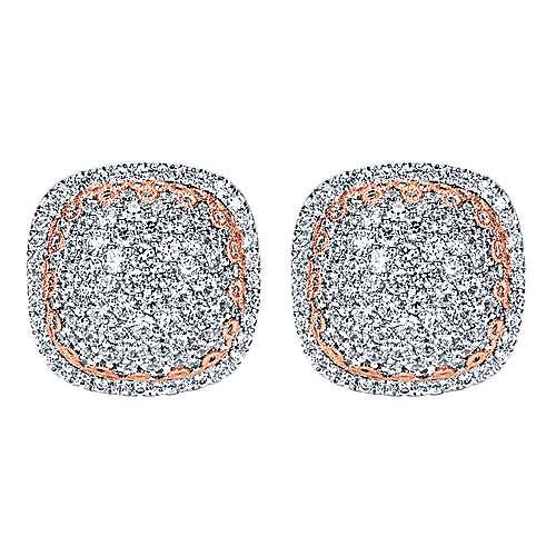 Gabriel - 18k White/pink Gold Silk Stud Earrings