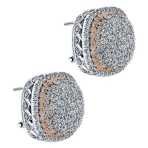 18k White/pink Gold Diamond Stud Earrings angle 2