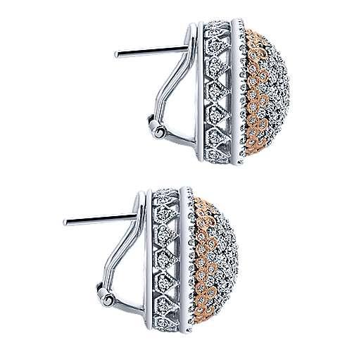 18k White/pink Gold Diamond Stud Earrings angle 3