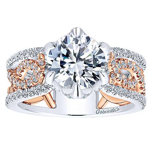18k White/pink Gold Diamond Twisted Engagement Ring angle 5