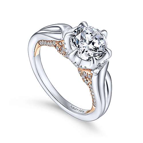 18k White/pink Gold Diamond Twisted Engagement Ring angle 3