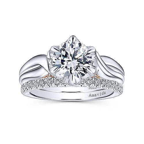 18k White/pink Gold Diamond Twisted Engagement Ring angle 4