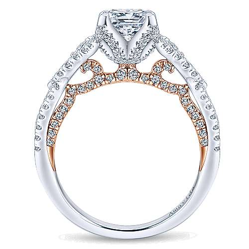 18k White/pink Gold Diamond Twisted Engagement Ring angle 2