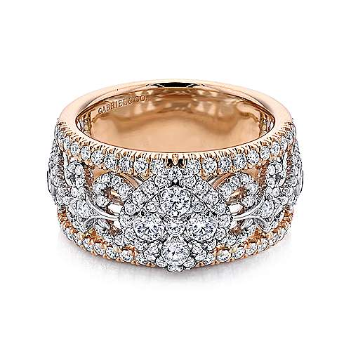 Gabriel - 18k White/pink Gold Allure Wide Band Ladies' Ring