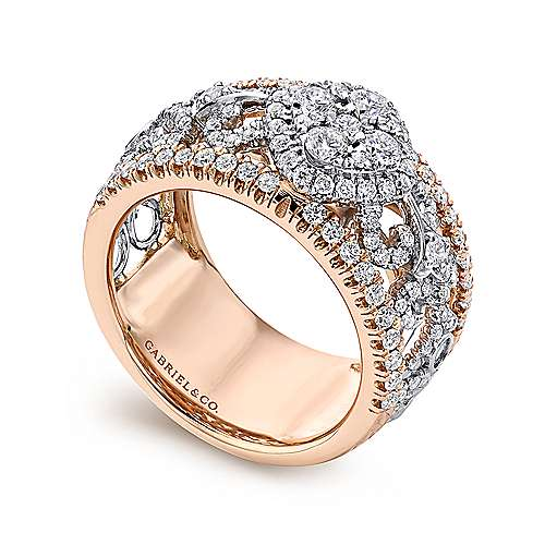 18k White/pink Gold Diamond Wide Band Ladies