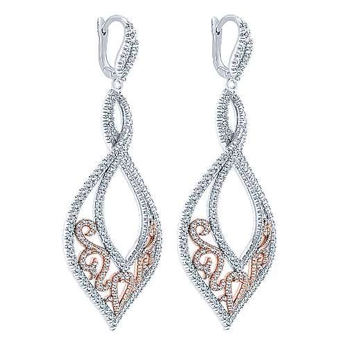 18k White/pink Gold Mediterranean Drop Earrings angle 2