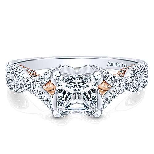 Gabriel - 18k White/pink Gold Princess Cut Twisted Engagement Ring