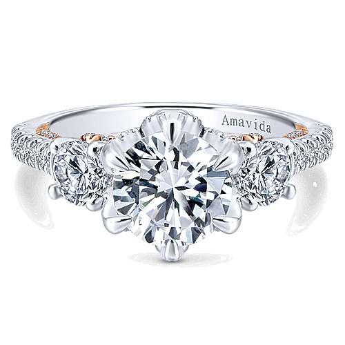 Gabriel - 18k White/pink Gold Round 3 Stones Engagement Ring