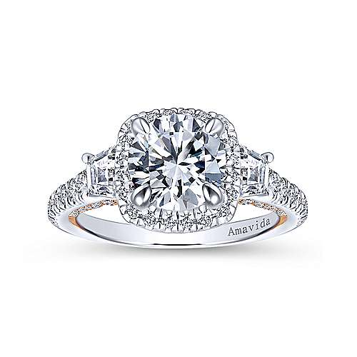 18k White/pink Gold Round 3 Stones Halo Engagement Ring angle 5