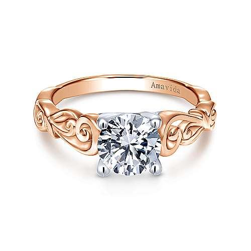 Gabriel - 18k White/pink Gold Round Free Form Engagement Ring