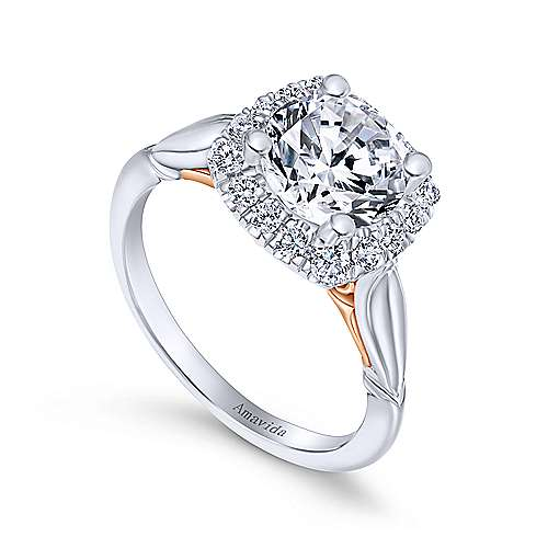 18k White/pink Gold Round Halo Engagement Ring angle 3
