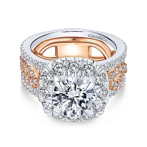 Gabriel - 18k White/pink Gold Round Halo Engagement Ring
