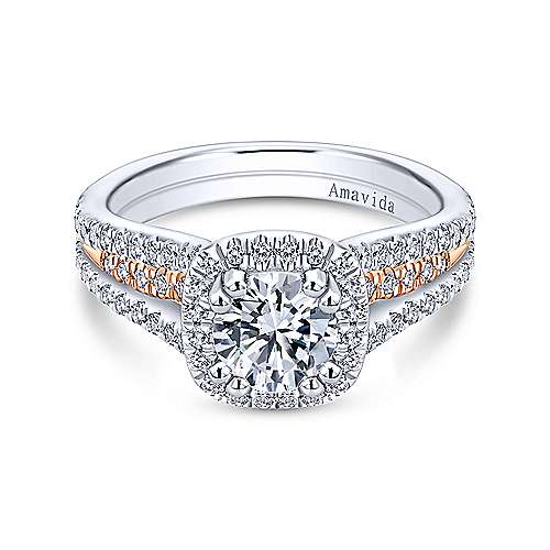 18k White/pink Gold Round Halo Engagement Ring angle 1