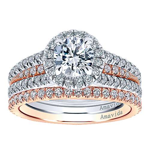 18k White/pink Gold Round Halo Engagement Ring angle 4