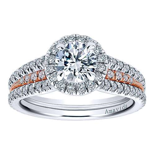 18k White/pink Gold Round Halo Engagement Ring angle 5