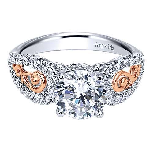 Gabriel - 18k White/pink Gold Round Split Shank Engagement Ring