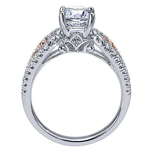 18k White/pink Gold Round Split Shank Engagement Ring angle 2