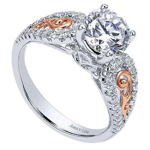 18k White/pink Gold Round Split Shank Engagement Ring angle 3
