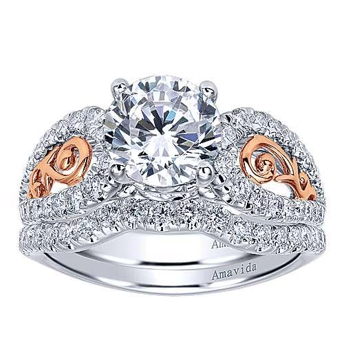 18k White/pink Gold Round Split Shank Engagement Ring angle 4