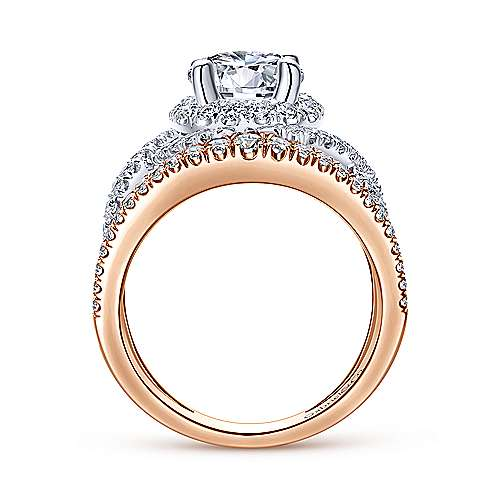18k White/pink Gold Round Split Shank Engagement Ring angle 2