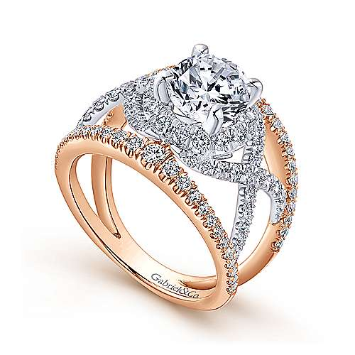 18k White/pink Gold Round Split Shank Engagement Ring angle 3