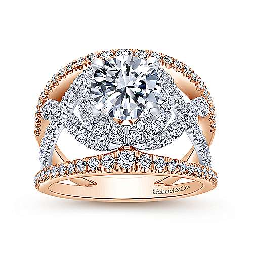 18k White/pink Gold Round Split Shank Engagement Ring angle 5