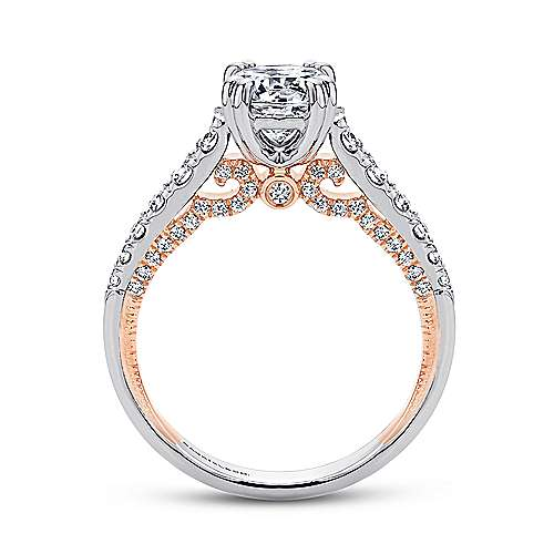 18k White/pink Gold Round Straight Engagement Ring angle 2