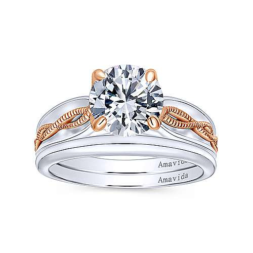 18k White/pink Gold Round Straight Engagement Ring angle 4
