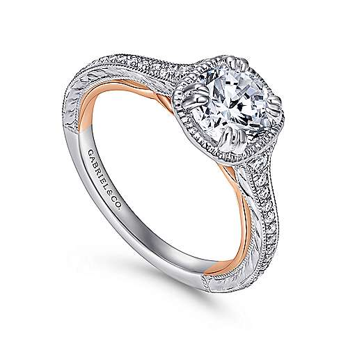 18k White/pink Gold Round Straight Engagement Ring angle 3