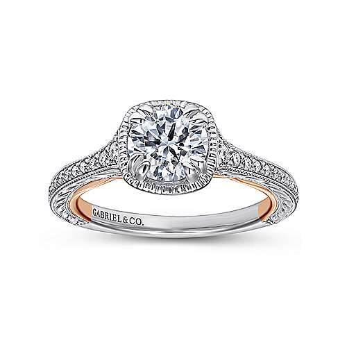 18k White/pink Gold Round Straight Engagement Ring angle 5