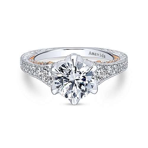 Gabriel - 18k White/pink Gold Round Straight Engagement Ring