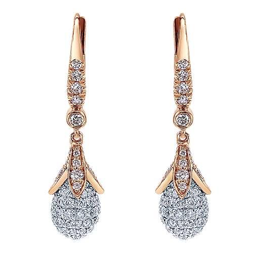 Gabriel - 18k White/pink Gold Silk Drop Earrings
