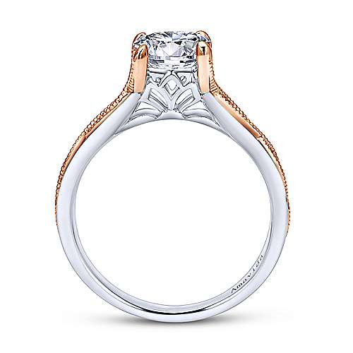 18k White/pink Gold Straight Engagement Ring angle 2