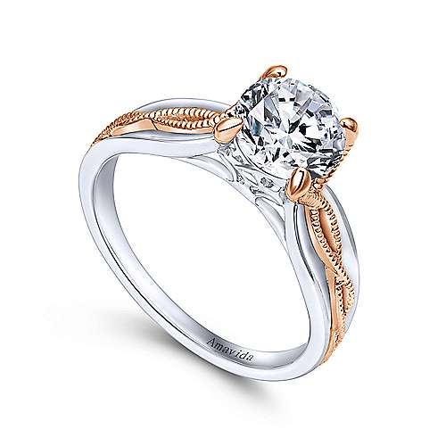 18k White/pink Gold Straight Engagement Ring angle 3