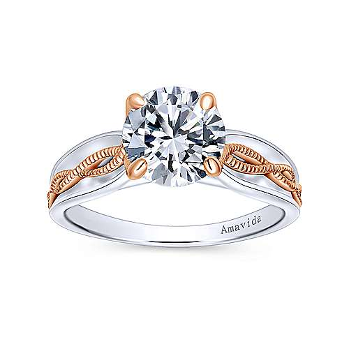 18k White/pink Gold Straight Engagement Ring angle 5