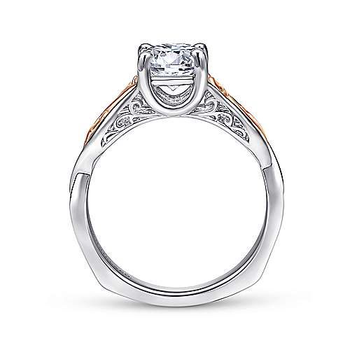 18k White/pink Gold Twisted Engagement Ring angle 2