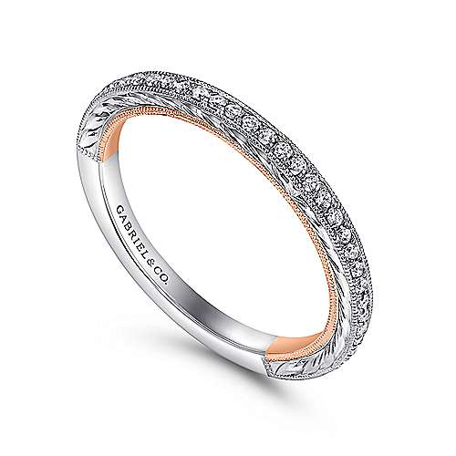 18k White/pink Gold Victorian Straight Wedding Band angle 3