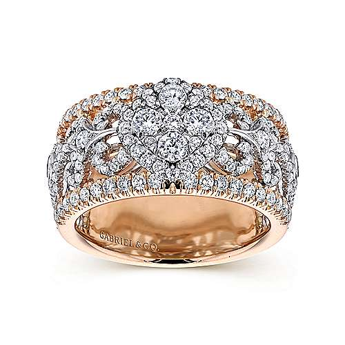 18k White/rose Gold Allure Wide Band Ladies