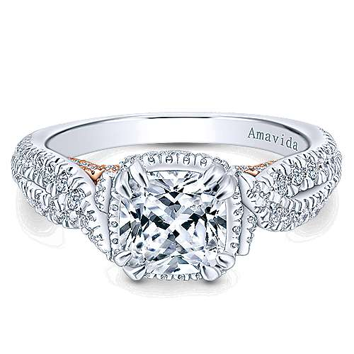 Gabriel - 18k White/rose Gold Cushion Cut Halo Engagement Ring