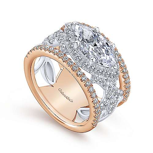 18k White/rose Gold Marquise  Halo Engagement Ring angle 3