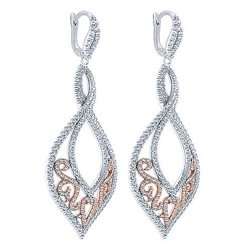 18k White/rose Gold Mediterranean Drop Earrings angle 2