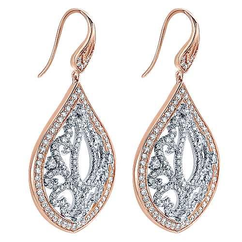 18k White/rose Gold Mediterranean Drop Earrings angle 2