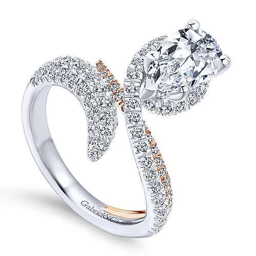 18k White/rose Gold Pear Shape Halo Engagement Ring angle 3