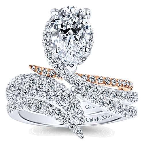 18k White/rose Gold Pear Shape Halo Engagement Ring angle 4