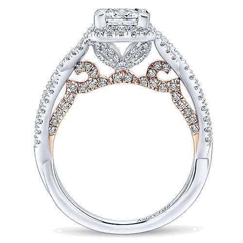 18k White/rose Gold Princess Cut Halo Engagement Ring angle 2